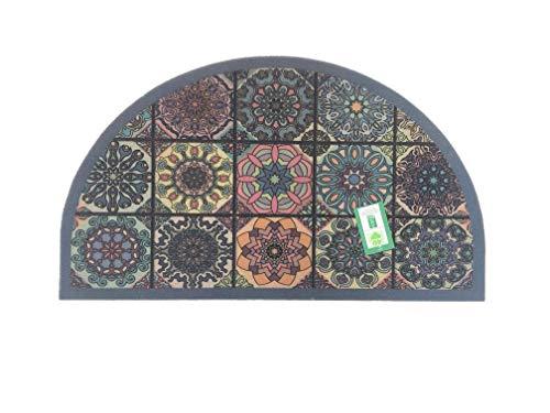 De'Carpet Felpudo Media Luna Entrada Casa Original Divertido Moderno Fibra Poliester Fregable Baldosa Hidráulica PINACA 40x70