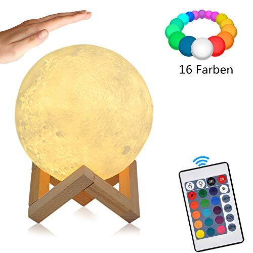 Mondlampe 15cm 16 Farben Mond lampe mit Fernbedienung und Touch Control/Dimmbare/USB Wiederaufladbar LED RGB Mondlicht Nachtlampe kinder geschenke