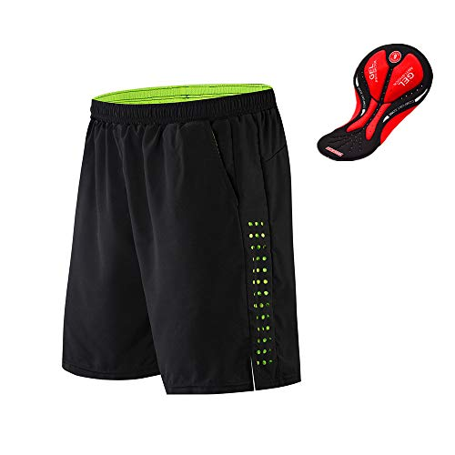 WOSAWE Pantalones Cortos de Bicicleta para Hombres Transpirable Gel 3D Acolchada Sueltos Pantalones Cortos de Ciclismo para MTB Descenso Ciclismo (Negro M)