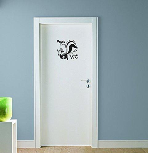 Dinger-Design Stinktier Wandtattoo Pups Zone WC Badezimmer Toiletten Türaufkleber Sprüche 16x15 cm schwarz