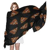 QMIN - Bufanda de seda, diseño de emoticono de caca de emoticono, diseño de chal largo, ligero, para mujeres, niñas y mujeres