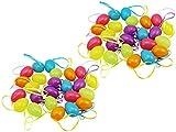 com-four® 48 Ostereier zum Aufhängen in unterschiedlichen Pastellfarben