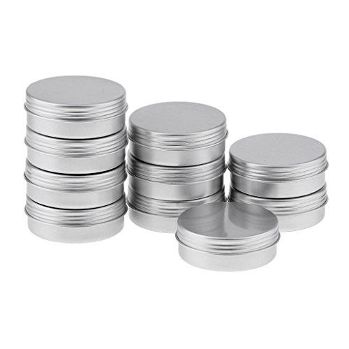 dailymall 5 Pièces Pots en Aluminium Conteneurs Cosmétiques Vide Pots de Voyage pour Crème - argent, 25ml 10pcs