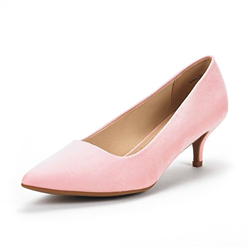 DREAM PAIRS Women's Moda Pink Suede Low Heel D'Orsay Pointed Toe Pump Shoes Size 8.5 M US