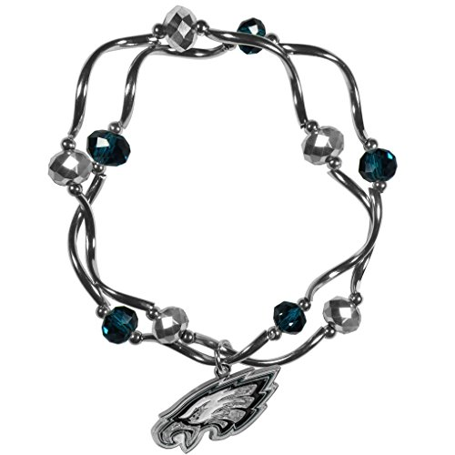 NFL Siskiyou Sports Womens Philadelphia Eagles Crystal Bead Bracelet One Size Team Color