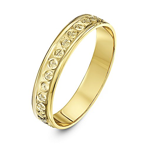 Theia 9ct Yellow Gold - Super Heavy Weight Flat Shape Diamond Like Design 4mm Wedding Ring - Size L