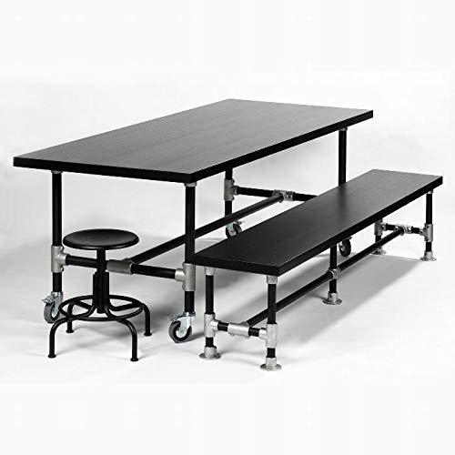 Lambert Industrie tafel frame ijzer, gepoedercoat zwart, op wieltjes, 100 x 100 x H 74 cm plaat eikenfineer, zwart gebeitst, gelakt, 100 x 100 x H 74 cm 54803
