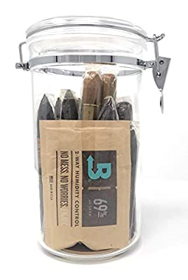 Acrylic Cigar Humidor Jar with Boveda 69% 2-Way Humidity System, 25 Cigar Capacity