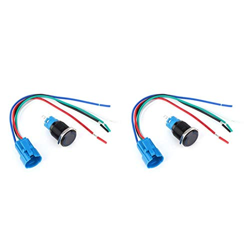 Botón pulsador de metal resistente al agua 2VDC 2 juegos Interruptor IP65 de reinicio automático para control industrial para modificación de automóviles(blue)