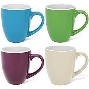 com-four® 4x Juego de tazas de café hecho de cerámica, tazas de café coloridas, cafetera en diferentes colores, 300 ml (04 piezas - colorido)