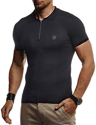 Leif Nelson Herren Sommer T-Shirt Poloshirt Slim Fit aus Feinstrick Cooles Basic Männer Polo-Shirt Crew Neck Jungen Kurzarmshirt Polo Shirt Sweater Kurzarm LN20753 Schwarz Medium