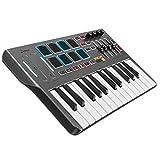 Controlador de Teclado MIDI DMK25, Donner Professional Sintetizador de 25 Teclas Mini USB Beat Pad con 8 Pads de Batería Retroiluminados 4 Perillas 4 Controles Deslizantes, Negro