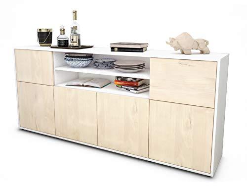 Stil.Zeit Sideboard Ermelina/Korpus Weiss matt/Front Holz-Design Zeder (180x79x35cm) Push-to-Open Technik