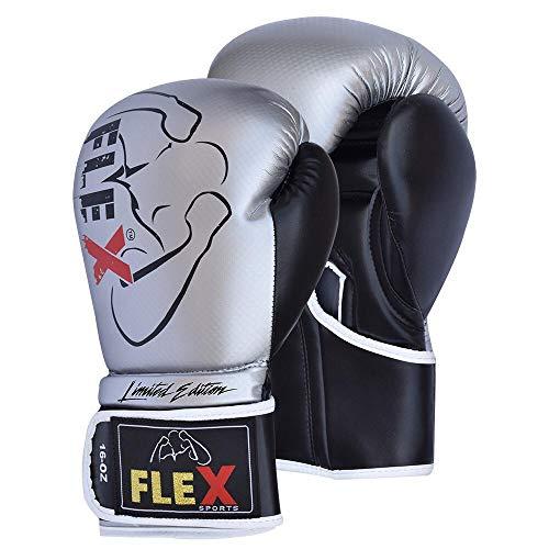 Flex Sports silber Carbon Boxhandschuhe Muay Thai Training Carbon Effekt Leder Sparring Boxsack Handschuhe Kickboxen Fighting Fokus Pads, 340,2 g (12 oz)