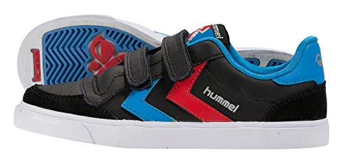 hummel Unisex-Kinder Stadil JR Leather Low-Top, Black Blue Red Gum, 38 EU