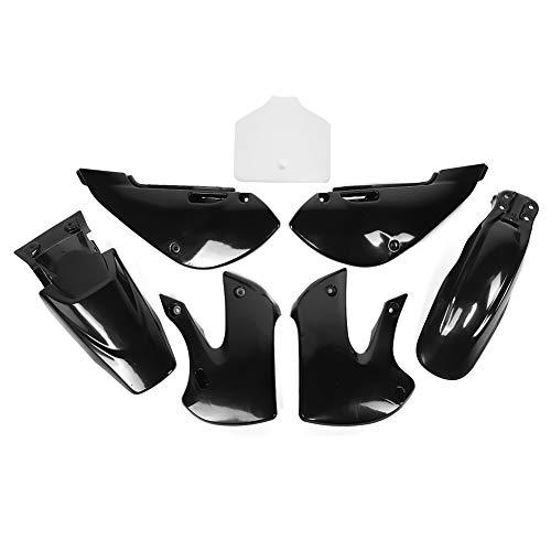 ABS Plastic Motorcycle Body Fairing Kit Front Rear Fenders Side Panels Shroud Fit for Kawasaki KLX110 2002-2013 Kawasaki KX-65 2000-2013 SUZUKI DRZ-110 2003-2005(Black+White)