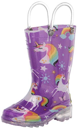 Western Chief Girl's Waterproof Rain Boots That Light Up Each Step Boot, Rainbow Unicorn, 11 M US Little Kid
