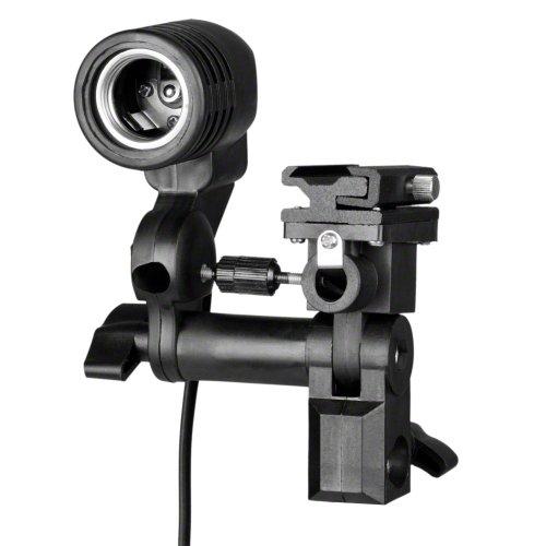 Walimex E27 Lampenhalterung mit Blitzschuh-Halterung und 300-cm-Netzkabel