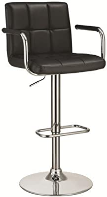 Coaster Home Furnishings CO- Adjustable Bar Stool, Black/Black