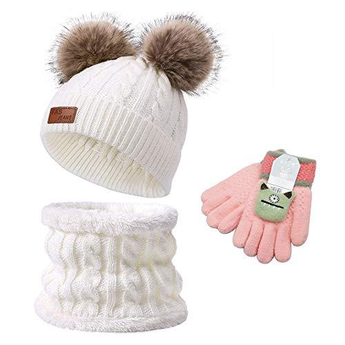 Anyingkai Mütze und Halstuch Baby Set,Bommel Beanie Strickmütze Schalmütze,Mütze und Halstuch Baby,Mütze und Halstuch für Kinder,Schal Mütze und Handschuhe,Mütze und Halstuch