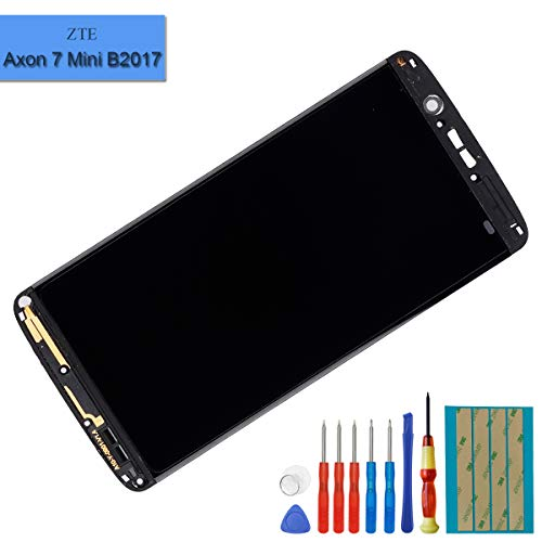AMOLED Display Compatible with ZTE Axon 7 Mini B2017 B2017G LCD Touch Screen Display Digitizer Assembly with Frame + Tools(Grey)