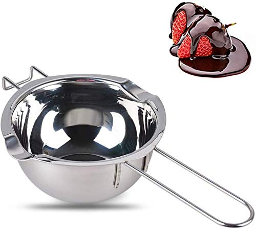 RXING 2021 DIY 480ML Bain-Marie Bol pour Bain Marie en Acier Inoxydable avec poignée résistante à la Chaleur Chocolat Beurre avec Poignée Ustensile de Cuisine Cuisson Pâtisserie