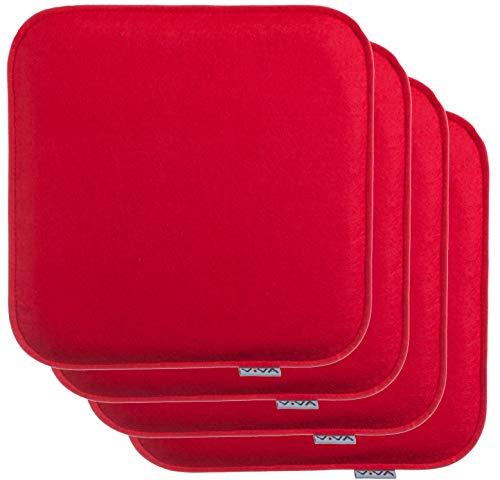 Brandsseller - Cuscino per sedia, in feltro, rettangolare, 35 x 35 x 2 cm, 100% poliestere, Colore: rosso, 4er-Vorteilspack