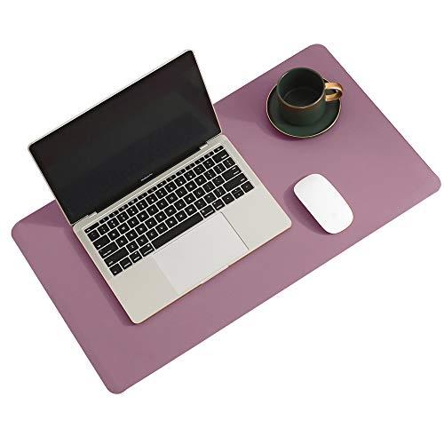 Aothia - Alfombrilla de escritorio (60 cm x 35 cm, doble cara, de corcho natural y piel sintética, antideslizante, impermeable, para oficina y hogar (morado)