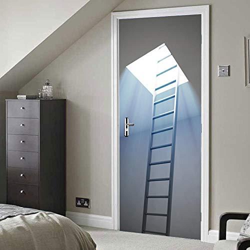 Tür-Aufkleber-Wandbild 3D Keller-Treppe für Schlafzimmer-BadezimmerEp selbstklebender PVC-Wand-Aufkleber, 77X200Cm