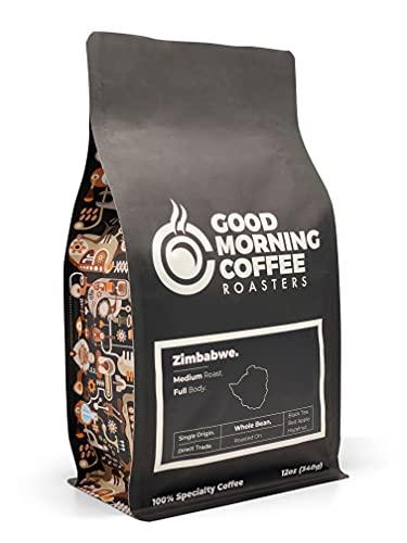 Good Morning Coffee Roasters Specialty Zimbabwe Coffee Beans, Fresh medium roast, best single origin whole bean coffee, %100 arabica, 12oz bag (Zimbabwe)