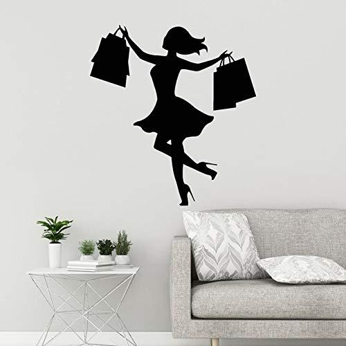 Chica de compras Calcomanía de pared Tienda de moda Mujer con bolsas Niñas Dormitorio Pegatinas de pared Extraíble Decoración de habitación Mural Otro color 35x32cm