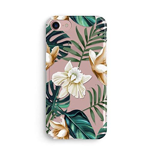 Coovertify Pack Funda Transparente Flor de lis Blanca iPhone 5/5S/SE, Carcasa de Gel Silicona con Dibujo Estampado + Protector de Pantalla de Cristal Templado para Apple iPhone 5 5S SE