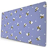 AOOEDM Alfombrilla de ratón Little Flower and Little Bee Extended Large Mouse Pad 15.8 X 29.5 in Funny Design Computer Gaming Mouse Mat Desk Non-Slip Rubber Base Mousepad for Office/Home