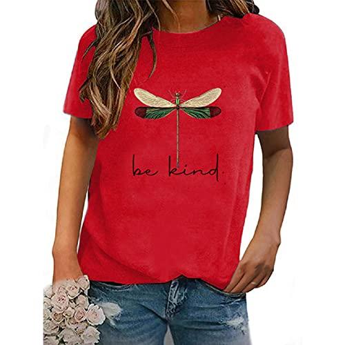 SLYZ Camiseta De Mujer De Manga Corta con Estampado De Cuello Redondo De Moda Ouma De Verano para Mujer Blusa De Todo Fósforo para Mujer
