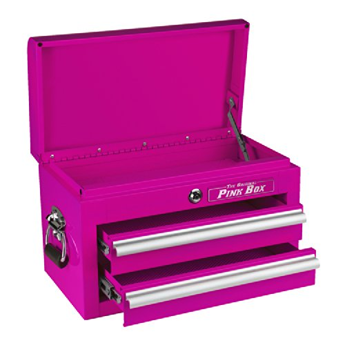 The Original Pink Box PB218MC 18-Inch 2-Drawer 18G Steel Mini Storage Chest w/ Lid Compartment, Pink