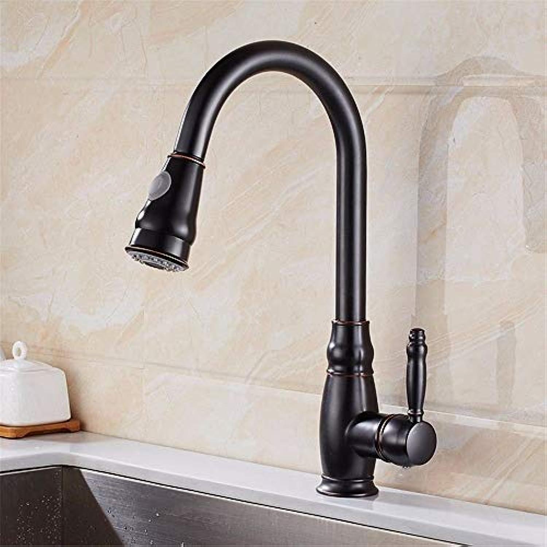 Wasserhahn Küche Waschbecken Badezimmer Wasserhahn Messing konstruiert poliert schwarz Küchenarmatur Pull-Style europischen Waschbecken hei und kalt