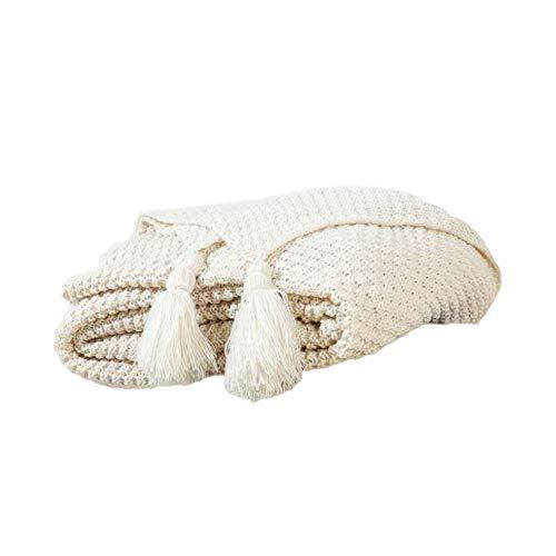 Finoki Gestrickte Decke, Nordic Handgemachte Decke mit Quaste Strickdecke, Wohndecke Sofaüberwürfe für Wohnzimmer/Büro (Weiß, 240x110cm)