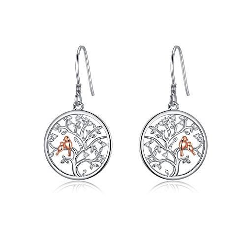 LONAGO Baum des Lebens Ohrringe 925 Sterling Silber Süße Vögel im Stammbaum Baumeln Ohrringe Schmuck für Frauen