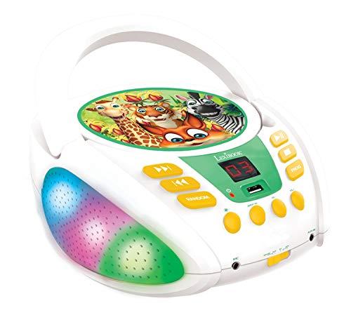Lexibook- Animali della Giungla-Lettore CD Bluetooth per Bambini – Portatile, Effetti Multicolore, Jack per Microfono, AUX in, AC o batterie, Ragazzi, Bianca