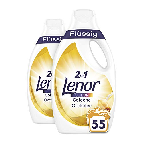 Lenor Colorwaschmittel Flüssig Goldene Orchidee, 2er Pack (2 x 55 Waschladungen)