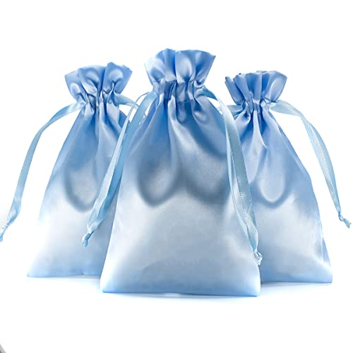 """Knitial 4"""" x 6"""" Satin Baby Blue Gift Bags, Jewelry Bags, Wedding Favor Drawstring Bags Baby Shower Christmas Gift Bags 50 per Pack"""