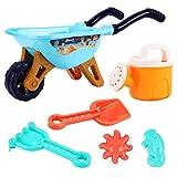 Vssictor 6 Pezzi Kids Garden Carriola Set da Gioco Sand Pit Beach Attrezzi da Giardino Trolley Toy, 2 Pezzi di stampi, Vanga, rastrello, annaffiatoio + Altro, ummer Outdoor Toys