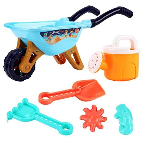 WINBST 6 piezas carretilla playa juguete coche, playa carretilla niños juguete conjunto con pala riego puede rastrillo, pala playa playa fiesta agua juguetes