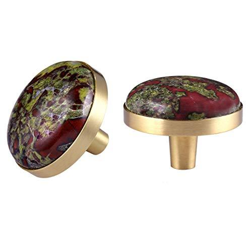 mookaitedecor Dragon Blood Jasper Crystal Cabinet Knobs with Screws Set of 2, Drawer Pull Handles for Dresser Wardrobe Cupboard Decorative