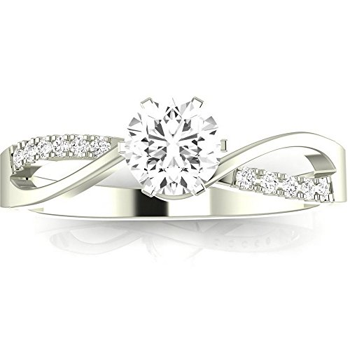 14K White Gold 0.58 CTW Round Cut Elegant Twisting Split Shank Diamond Engagement Ring, J Color I1 Clarity, 0.5 Ct Center