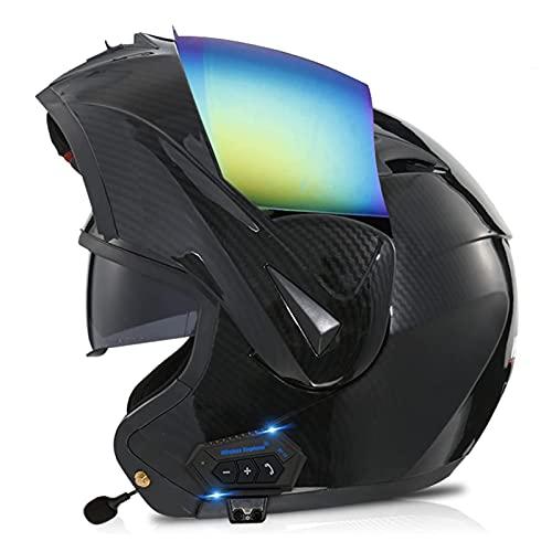 LIRONGXILY Casco Moto Modular Casco Moto Modular Casco Integral con Bluetooth Casco de Moto con Doble Visera para Hombre o Mujer ECE Homologado (Color : A, Size : 55-56(S))