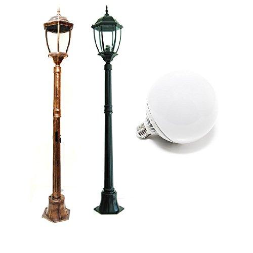 Moderne Außenleuchte IP65 Höhe 180 cm E27 LED-Leuchte 18 W inklusive 1500 Lm - weißes Licht Natur-Finish Aluminium bronze/kupfer