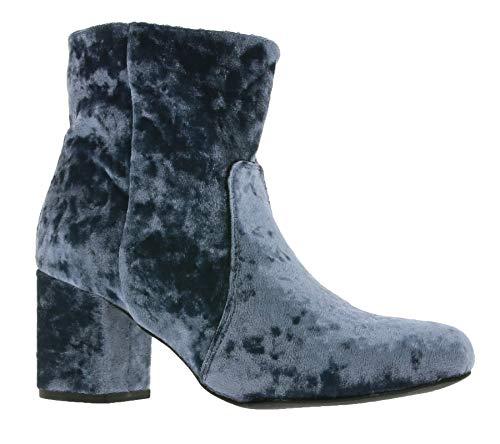 Poelman Damen Samt-Boots Elegante Stiefeletten Freizeit Herbst Anil Velvet Blau, Größenauswahl:36