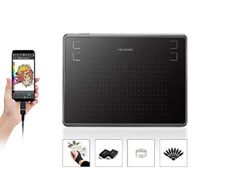 HUION Inspiroy H430P, 4,8 x 3 Zoll Grafiktablett, Grafiktablett mit 4 Tastenkombinationen, 4096 Ebenen Batterieloser Stift, Zeichenblock Kompatibel mit Mac, Windows, Android (für OSU!)