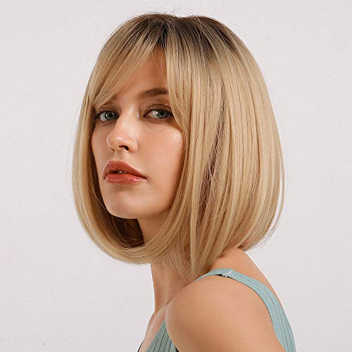 HAIRCUBE Black Root with Blonde Hair Wigs Beautiful Ombre Short Bob Wigs with Bangs Synthetic Heat Resistant 12 Inch Wigs for Women